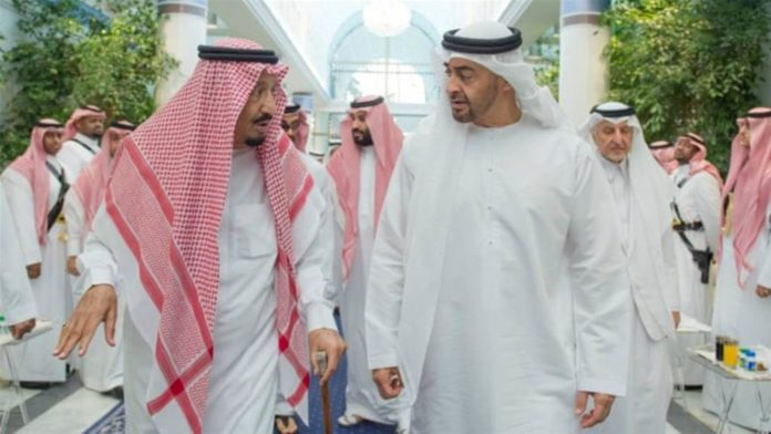 Saudi Arabia's King Salman bin Abdulaziz Al Saud is pictured with Abu Dhabi Crown Prince Sheikh Mohammed bin Zayed al-Nahyan in Jeddah, Saudi Arabia