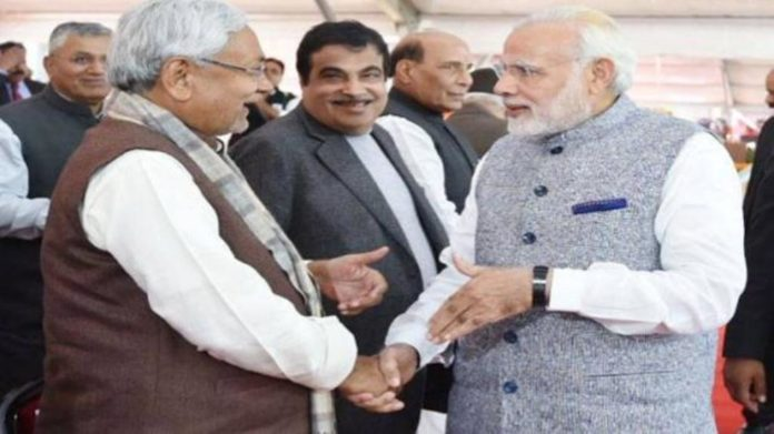 Nitish Kumar with Narendra Modi