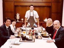 Netanyahu Shoe-on-dinning table.